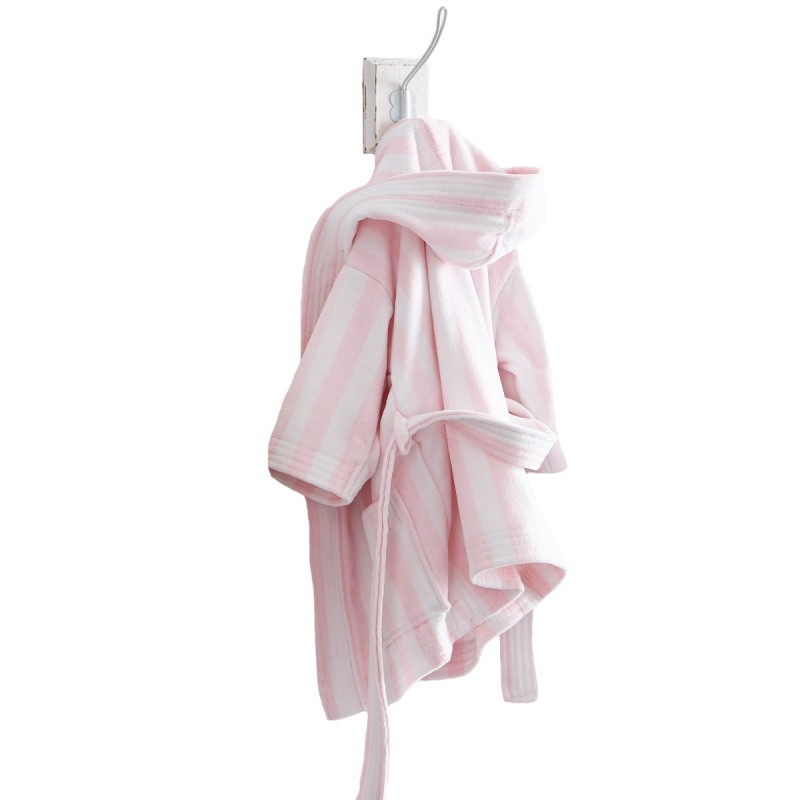 peignoir de bain enfant b b ado acheter peignoir de bain capuche fille rose rayures. Black Bedroom Furniture Sets. Home Design Ideas