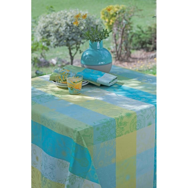 nappe enduite sur mesure de qualit carreaux bleu campagne jardin. Black Bedroom Furniture Sets. Home Design Ideas
