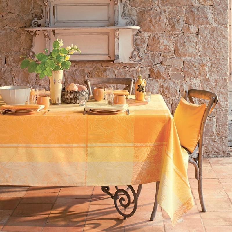 Nappe de table sur mesure damass carreaux jaune - Nappe de table rectangulaire sur mesure ...