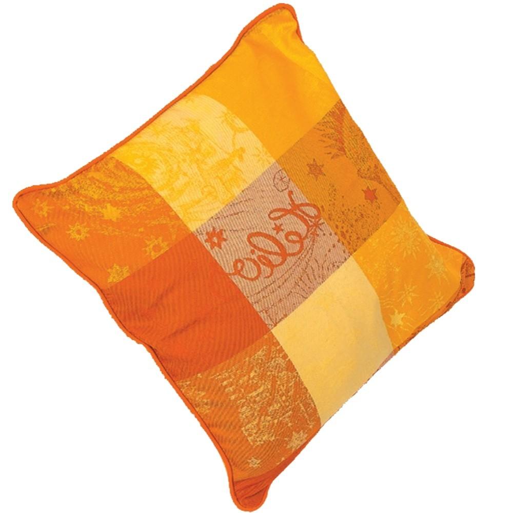Coussin décoration, carreaux, jaune, orange, campagne chic