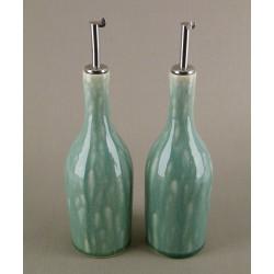 Huilier ou vinaigrier Tourron jade, Jars