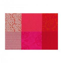 Set de table design enduit Fleurs de Kyoto Cerise, Le Jacquard Français