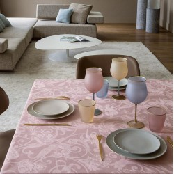 Nappe de table, Tivoli Rose poudre pur lin, Le Jacquard Français