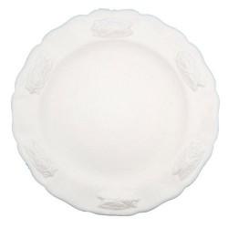 Assiette faience dessert blanc Les Cigales, Faïences Louis Sicard