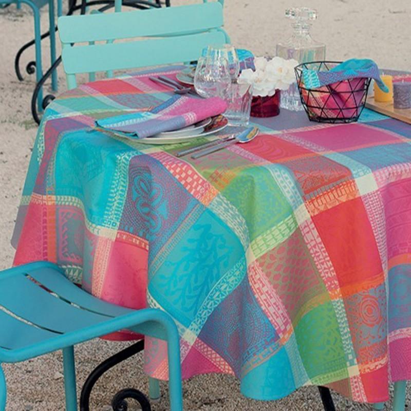 Tissu enduit nappe carreaux multicolore for Set de table multicolore