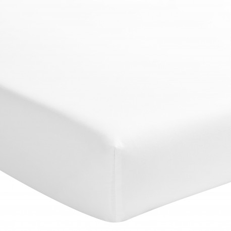 Drap housse uni en satin de coton Triumph Line Blanc, Essix
