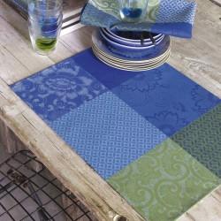 Set de table design enduit Fleurs de Kyoto Indigo, Le Jacquard Français