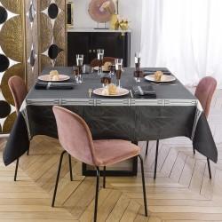 Nappe de table coton et lin Palace Caviar Le Jacquard Français