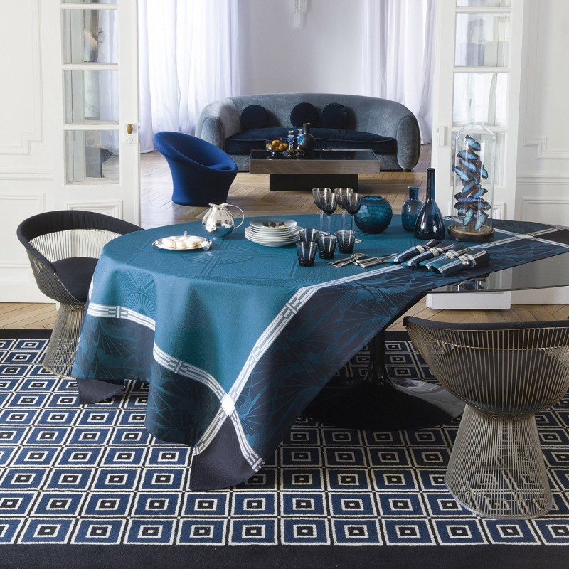 nappe de table coton et lin reception bleu jacquard francais. Black Bedroom Furniture Sets. Home Design Ideas
