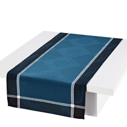 Chemin de table coton et lin Palace Bleu paon, Le Jacquard Français