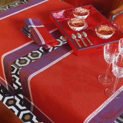 Chemin de table coton et lin Palace Grenat, Le Jacquard Français
