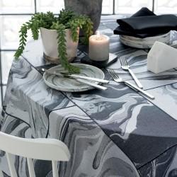 Nappe enduite sur mesure Mille Marble Black laize 180cm, Garnier-Thiébaut