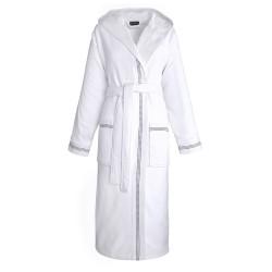 Peignoir de bain mixte Couture Blanc éponge 100% coton peigné, Le Jacquard Français