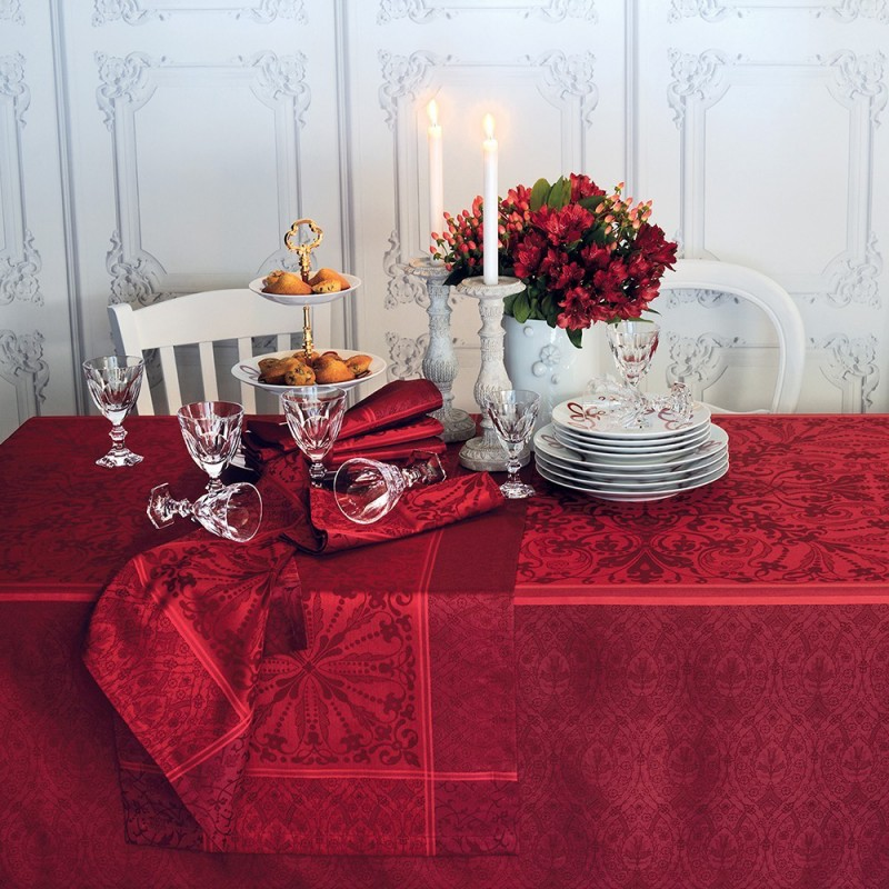 nappe de table anti tache style renaissance rouge haut. Black Bedroom Furniture Sets. Home Design Ideas