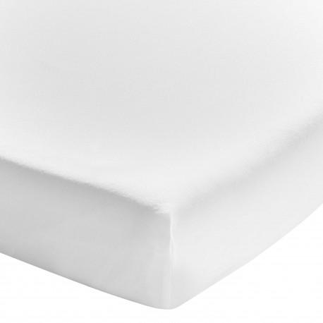 Drap housse uni coton lavé Soft Line blanc