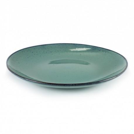 Assiette plate 28.5 cm grès émaillé Aqua Turquoise, vaisselle originale Serax
