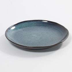 Assiette 22 cm grès émaillé Aqua Bleu tacheté, Serax
