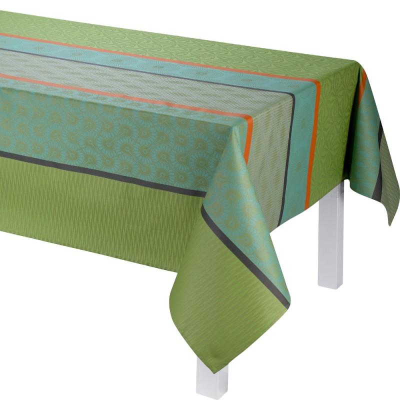 nappe enduite bayadere vert nappes enduites sur mesure. Black Bedroom Furniture Sets. Home Design Ideas