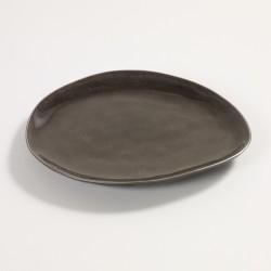 Assiette dessert ovale 20 x 17 cm céramique Pure Gris, Serax par Pascale Naessens