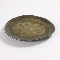 Assiette dessert ovale 20 x 17 cm céramique Pure Vert, Serax par Pascale Naessens