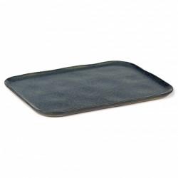 Assiette plate rectangulaire en grès émaillé N°1 XL Orage Merci, Serax