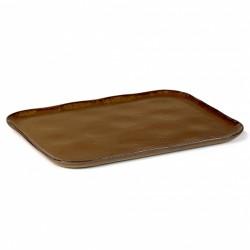 Assiette plate rectangulaire en grès émaillé N°1 XL Ocre Merci, Serax