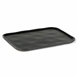Assiette plate rectangulaire en grès émaillé N°1 XL Noir d'encre Merci, Serax