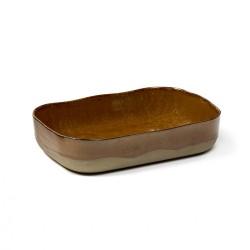 Assiette creuse rectangulaire en grès émaillé N°5 L Ocre, La nouvelle table Merci, Serax