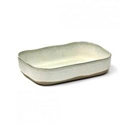 Assiette creuse rectangulaire en grès émaillé N°5 L Mastic, La nouvelle table Merci, Serax