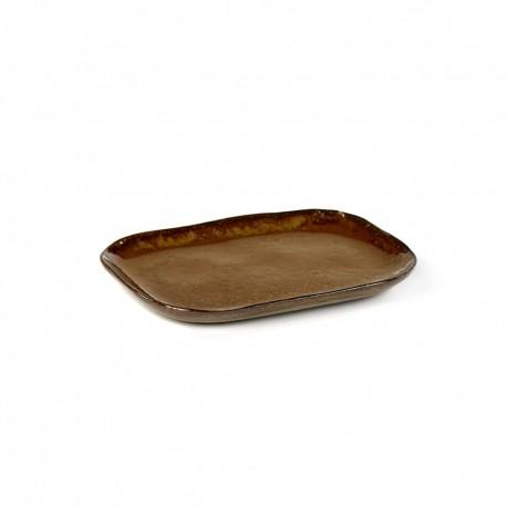 Assiette plate rectangulaire en grès émaillé N°3 M Ocre Merci, Serax
