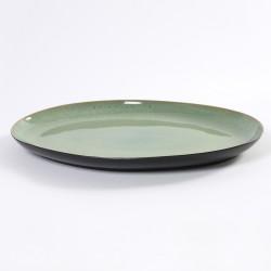 plat ovale 40x28cm céramique Pure green Vert, Serax par Pascale Naessens