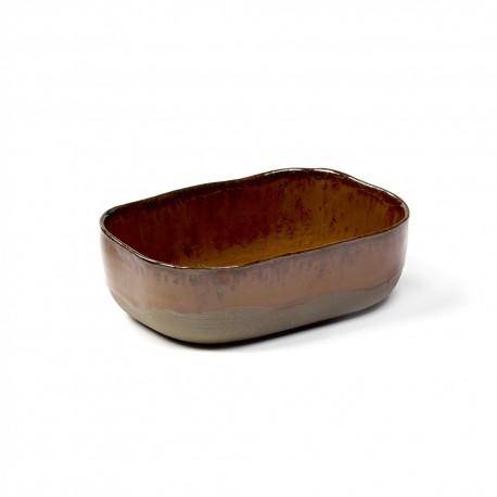 Assiette creuse rectangulaire grès émaillé N°6 M Ocre Merci, Serax