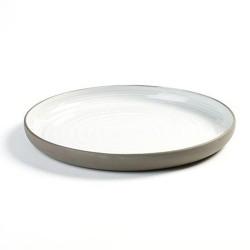 Assiette plate 26.8cm en porcelaine blanc/gris anthracite, Dusk de Martine Keirsebilck pour Serax