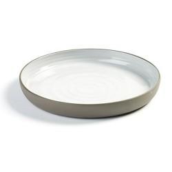 Assiette dessert 20.5cm en porcelaine blanc/gris anthracite, Dusk de Martine Keirsebilck pour Serax