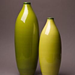 Ensemble Vase bouteille céramique Sud pomme et pistache, Bernex