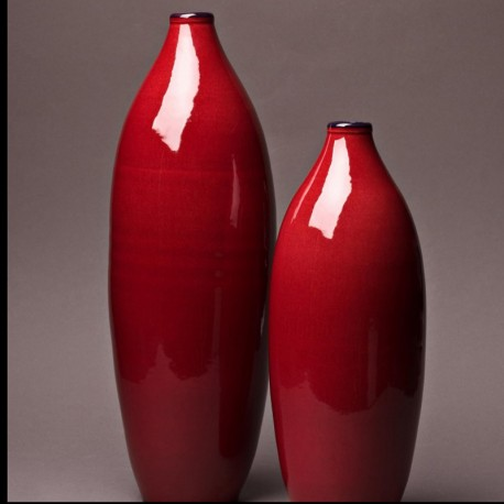 Ensemble vase bouteille design céramique Collection Sud rouge, Atelier Romain Bernex