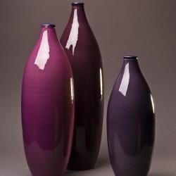 Ensemble Vase bouteille design céramique Sud aubergine, framboise et violette, Bernex