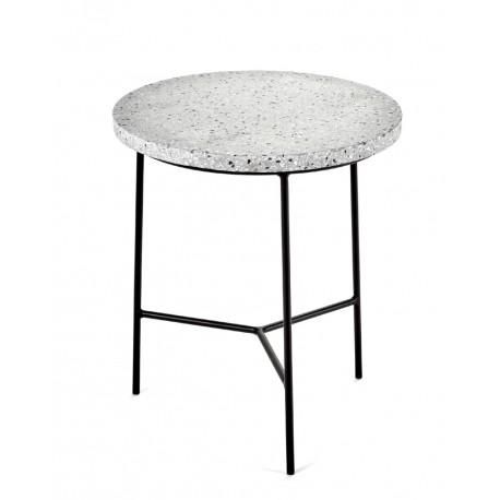 Table d'appoint design Terrazzo Gris/ pied Noir D 30 X H 35 cm, Serax
