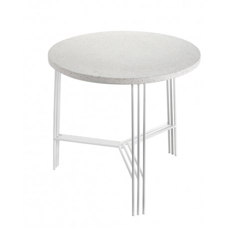 Table d'appoint design Terrazzo Blanc/pied Blanc D 50 X H 45 cm, Serax