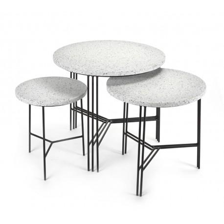 Ensemble de 3 tables d'appoint design Terrazzo Gris/pied Noir, Serax