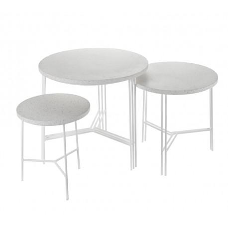 Ensemble de 3 tables d'appoint design Terrazzo Blanc/pied Blanc, Serax