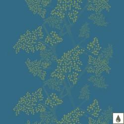 Tissu enduit Mille Branches Paon laize 180cm, Garnier-Thiébaut