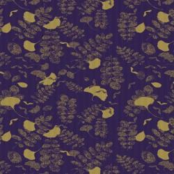 Tissu nappe au mètre Mille Feuilles Bleu doré en 185cm, Garnier-Thiébaut