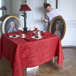 Nappe de table rouge Tivoli Velours pur lin, Le Jacquard Français