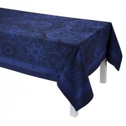 Nappe enduite sur mesure Porcelaine Bleu de chine, laize 180cm, Le Jacquard Français