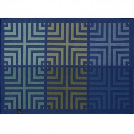 Set de table design anti tache réversible Kaléidoscope Illusion bleu, Le Jacquard Français, verso