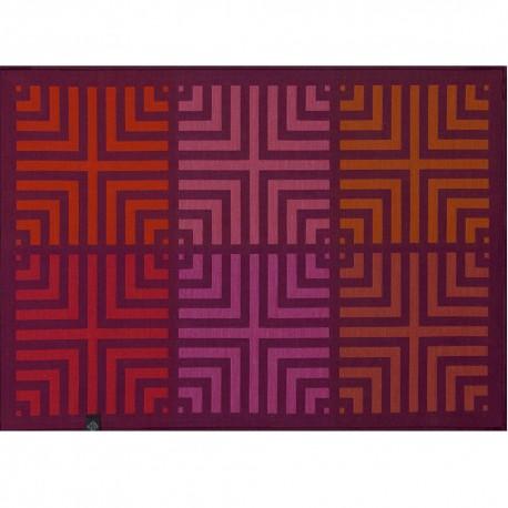 Set de table anti tache réversible Kaléidoscope Illusion prune, Le Jacquard Français, verso