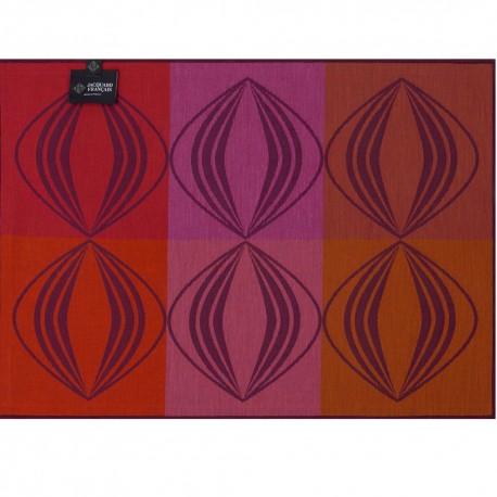 Set de table anti tache réversible Kaléidoscope Vision prune, Le Jacquard Français recto