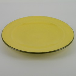 Assiette plate design ceramique Collection Sud jaune, Atelier Romain Bernex