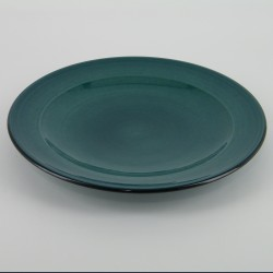 Assiette plate design céramique Collection Sud bleu lagon, Atelier Romain Bernex